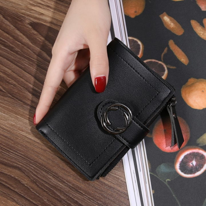 Short Section Wallet Ms Thin Section Buckle Fashion Wallet Small Wallet black one size