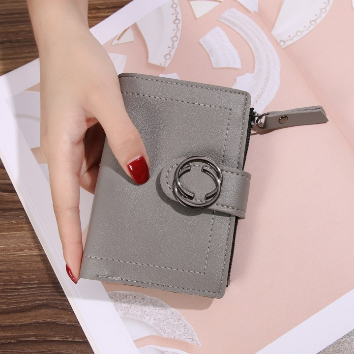 Short Section Wallet Ms Thin Section Buckle Fashion Wallet Small Wallet gray one size