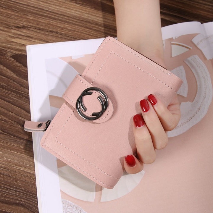 Short Section Wallet Ms Thin Section Buckle Fashion Wallet Small Wallet ligth pink one size
