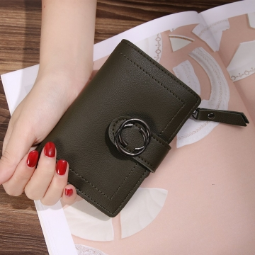 Short Section Wallet Ms Thin Section Buckle Fashion Wallet Small Wallet ligth green one size