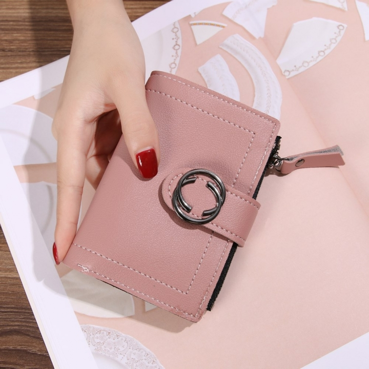 Short Section Wallet Ms Thin Section Buckle Fashion Wallet Small Wallet dark pink one size