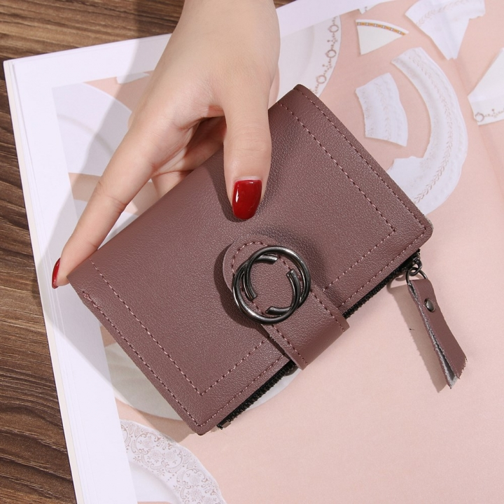 Short Section Wallet Ms Thin Section Buckle Fashion Wallet Small Wallet Bean paste one size
