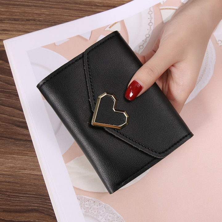 Ms Three Fold Wallet Wild Mini Heart Buckle Fashion Coin Purse black one size
