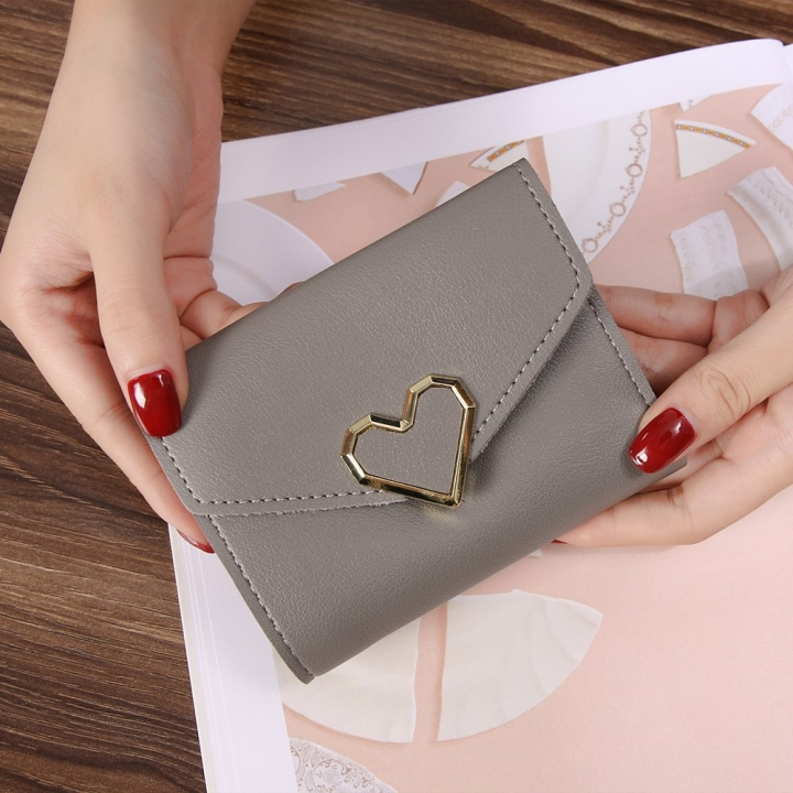 Ms Three Fold Wallet Wild Mini Heart Buckle Fashion Coin Purse gray one size