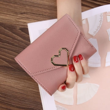 Ms Three Fold Wallet Wild Mini Heart Buckle Fashion Coin Purse dark pink one size