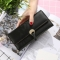 The New Ms Long Section Wallet Three Fold Student Pu Wallet Fashion Female Models Wallet black one size