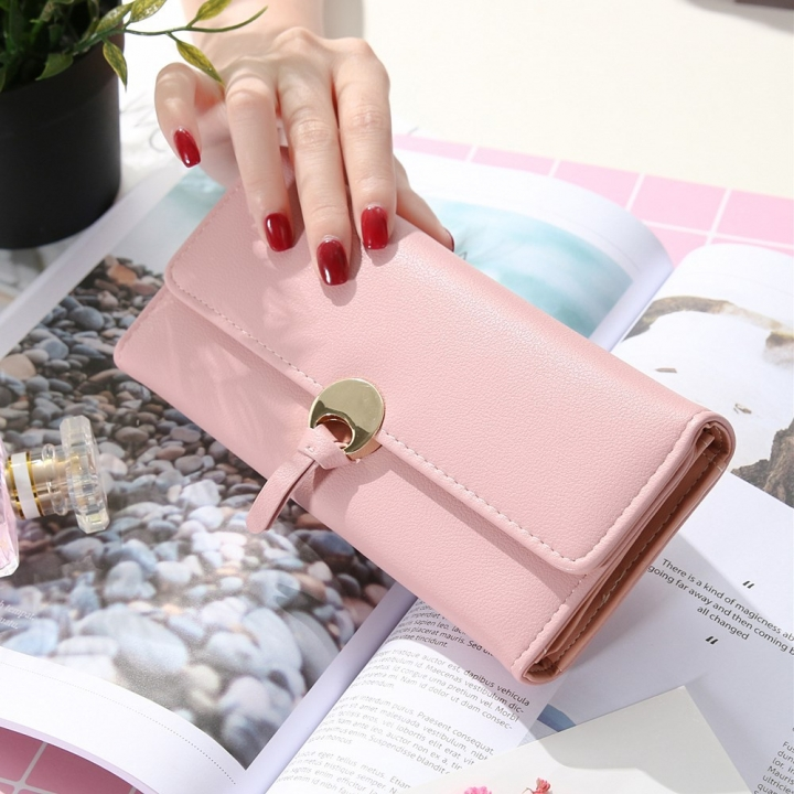 The New Ms Long Section Wallet Three Fold Student Pu Wallet Fashion Female Models Wallet pink one size