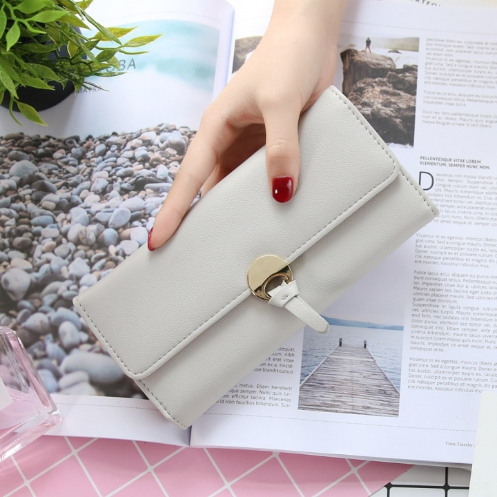 The New Ms Long Section Wallet Three Fold Student Pu Wallet Fashion Female Models Wallet gray one size