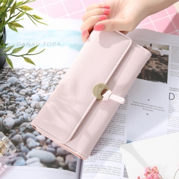 The New Ms Long Section Wallet Three Fold Student Pu Wallet Fashion Female Models Wallet ligth purple one size
