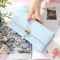 The New Ms Long Section Wallet Three Fold Student Pu Wallet Fashion Female Models Wallet sky blue one size