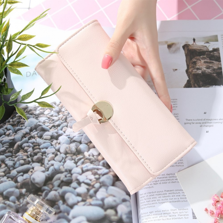 The New Ms Long Section Wallet Three Fold Student Pu Wallet Fashion Female Models Wallet ligth pink one size