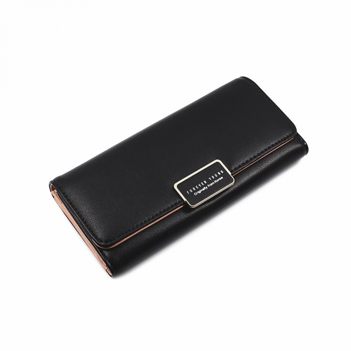 The New Ms Wallet Simple Fashion High Capacity Multi-card Bit Buckle Wallet black one size
