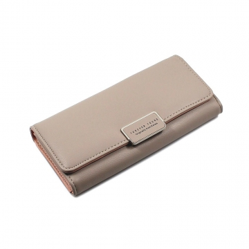 The New Ms Wallet Simple Fashion High Capacity Multi-card Bit Buckle Wallet brown one size