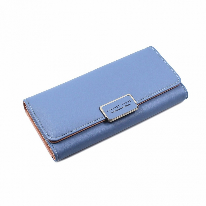The New Ms Wallet Simple Fashion High Capacity Multi-card Bit Buckle Wallet blue one size