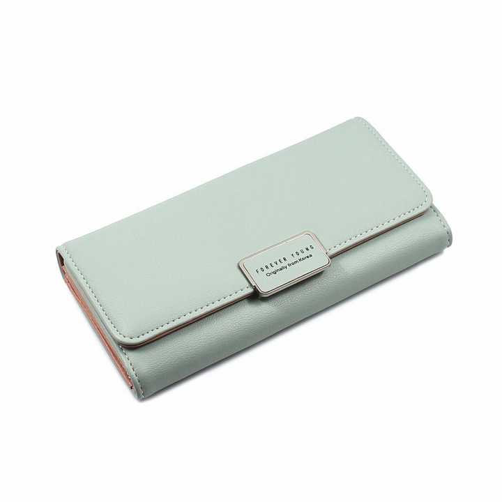 The New Ms Wallet Simple Fashion High Capacity Multi-card Bit Buckle Wallet ligth green one size
