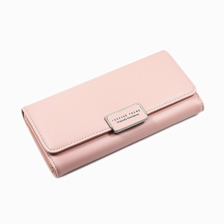 The New Ms Wallet Simple Fashion High Capacity Multi-card Bit Buckle Wallet pink red one size