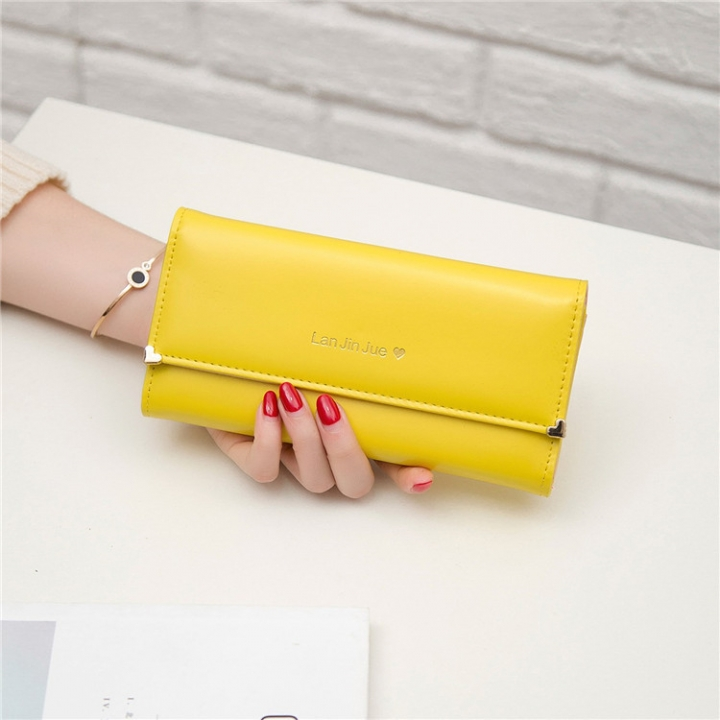 Fashion Student Hand bag Love Three Fold High Capacity Card Pack Wallet yellow one size