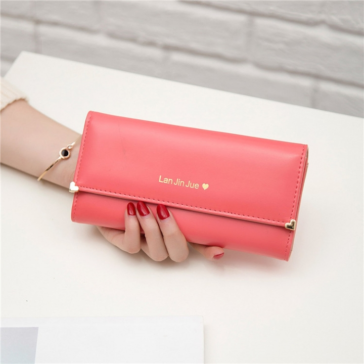 Fashion Student Hand bag Love Three Fold High Capacity Card Pack Wallet watermelon red one size