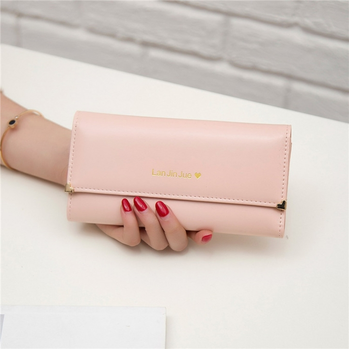 Fashion Student Hand bag Love Three Fold High Capacity Card Pack Wallet ligth pink one size