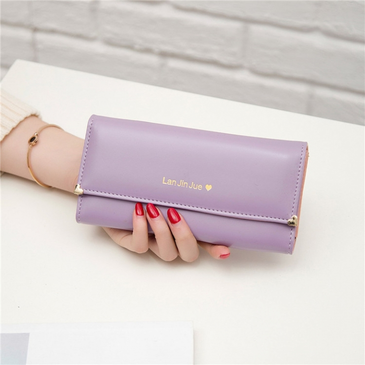 Fashion Student Hand bag Love Three Fold High Capacity Card Pack Wallet ligth purple one size