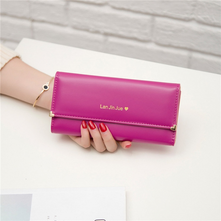 Fashion Student Hand bag Love Three Fold High Capacity Card Pack Wallet rose red one size