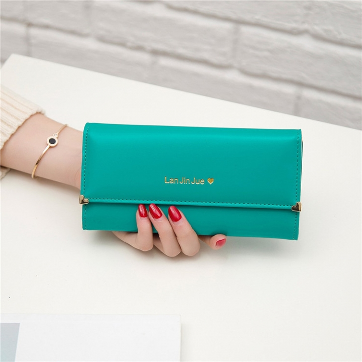 Fashion Student Hand bag Love Three Fold High Capacity Card Pack Wallet green one size