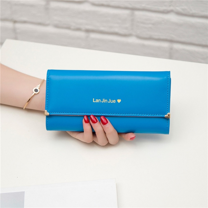 Fashion Student Hand bag Love Three Fold High Capacity Card Pack Wallet ligth blue one size