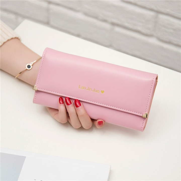 Fashion Student Hand bag Love Three Fold High Capacity Card Pack Wallet tender red one size