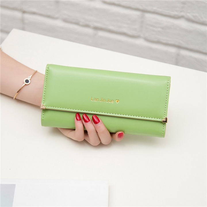 Fashion Student Hand bag Love Three Fold High Capacity Card Pack Wallet matcha green one size