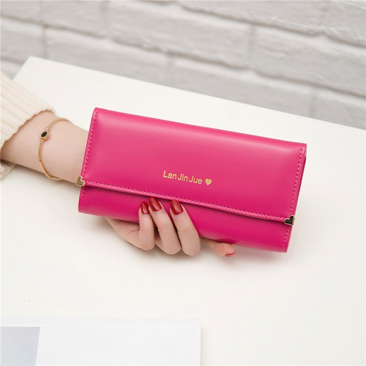 Fashion Student Hand bag Love Three Fold High Capacity Card Pack Wallet pink red one size