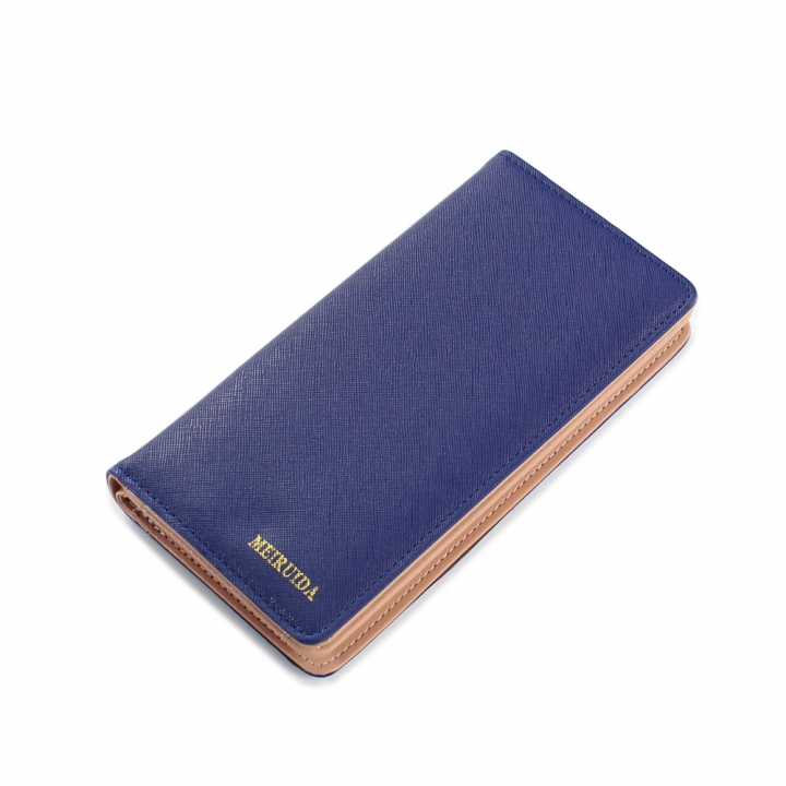 Trend The New Fashion 2 Fold Love Cross Pattern Long Section Ms Wallet dark blue one size