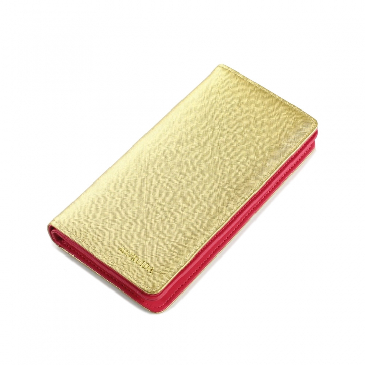 Trend The New Fashion 2 Fold Love Cross Pattern Long Section Ms Wallet golden one size