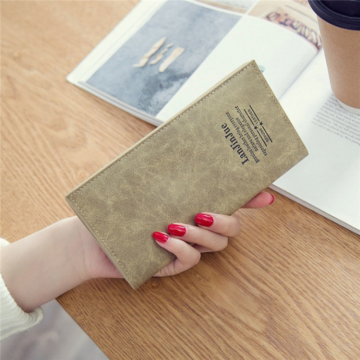 Female Long Section Ultra Thin Student Wallet Soft Skin Small Fresh Wallet Female Coin Purse coffee one size