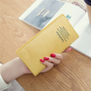 Female Long Section Ultra Thin Student Wallet Soft Skin Small Fresh Wallet Female Coin Purse yellow one size