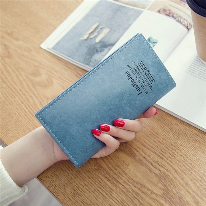 Female Long Section Ultra Thin Student Wallet Soft Skin Small Fresh Wallet Female Coin Purse blue one size