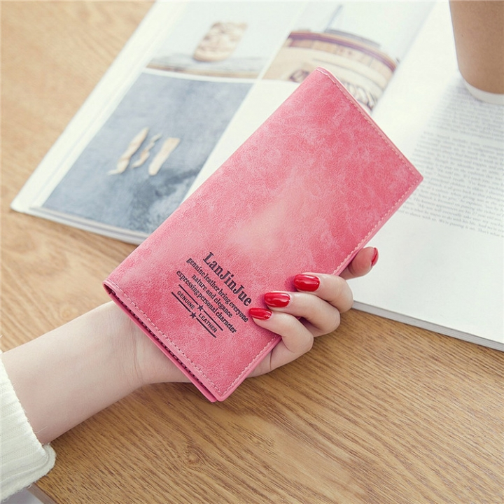 Female Long Section Ultra Thin Student Wallet Soft Skin Small Fresh Wallet Female Coin Purse rose red one size