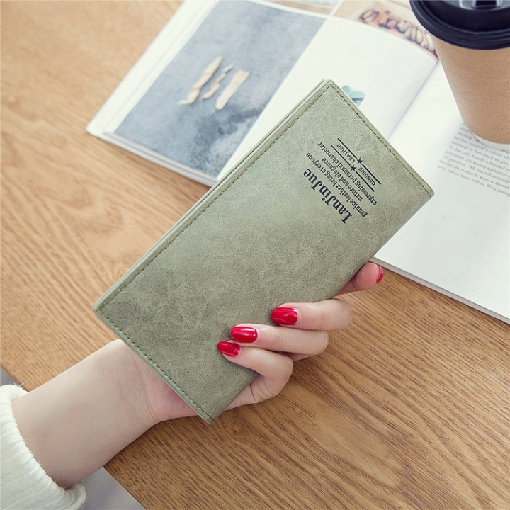 Female Long Section Ultra Thin Student Wallet Soft Skin Small Fresh Wallet Female Coin Purse Army green one size