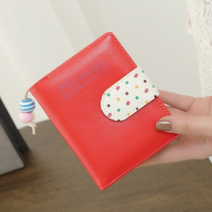 The New Ladies lovely Wave point wallet zipper Short section Female wallet Wallet watermelon red one size