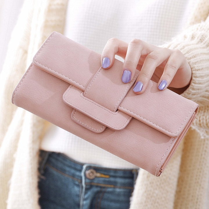 Ms Wallet Long Section Three Fold Clamshell Small Fresh Student Change Bit Buckle Wallet ligth pink one size