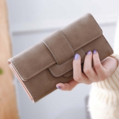 Ms Wallet Long Section Three Fold Clamshell Small Fresh Student Change Bit Buckle Wallet brown one size