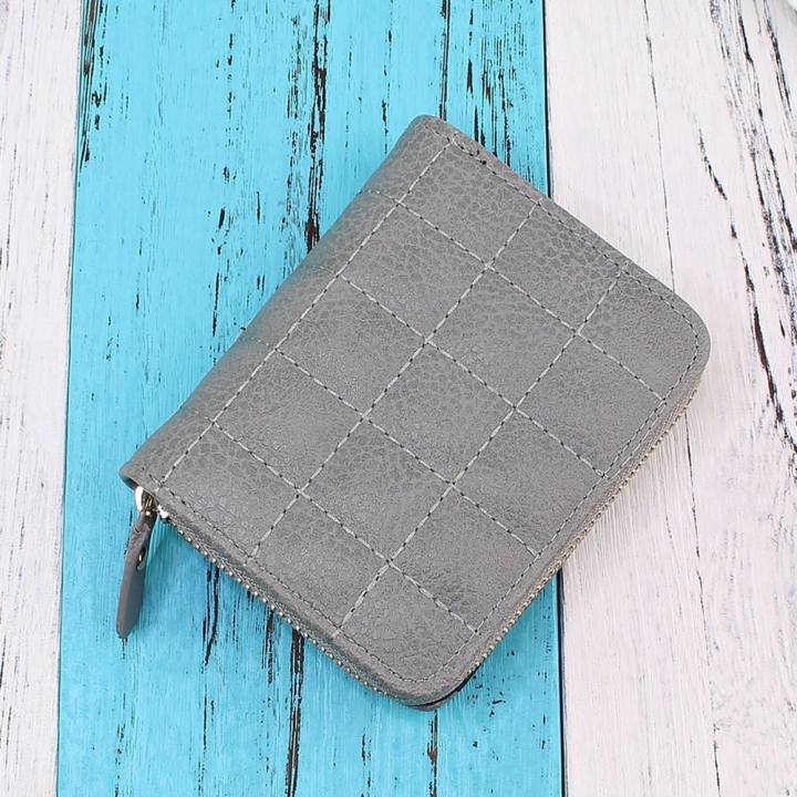 Mini Small Wallet Ms Zipper Short Section Lovely Coin Purse Student Embroidered Wallet gray one size