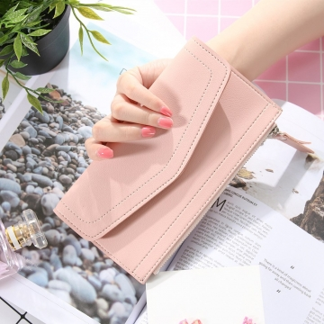 Ms Wallet Retro Simple Solid Color Long Section Twists And Turns Zipper Coin Pocket Wallet Card Pack pink one size