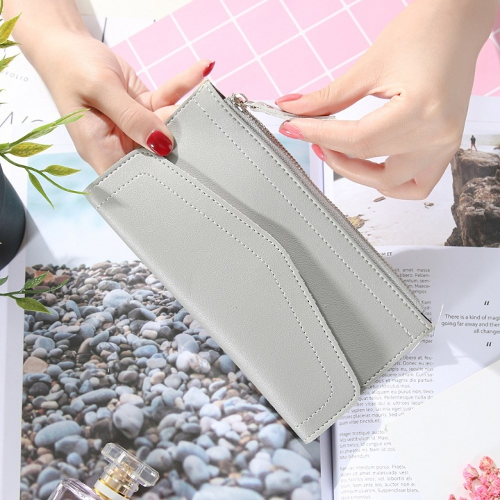 Ms Wallet Retro Simple Solid Color Long Section Twists And Turns Zipper Coin Pocket Wallet Card Pack gray one size
