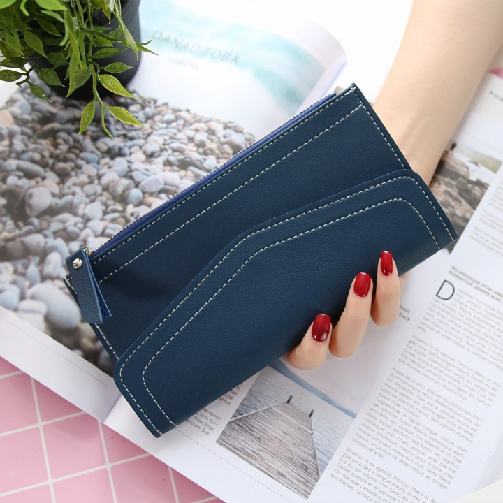 Ms Wallet Retro Simple Solid Color Long Section Twists And Turns Zipper Coin Pocket Wallet Card Pack dark blue one size