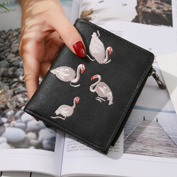 Upscale PU Leather Twists And turns Ms Wallet Wallet Short Section lovely Little Swan Coin Purse black one size