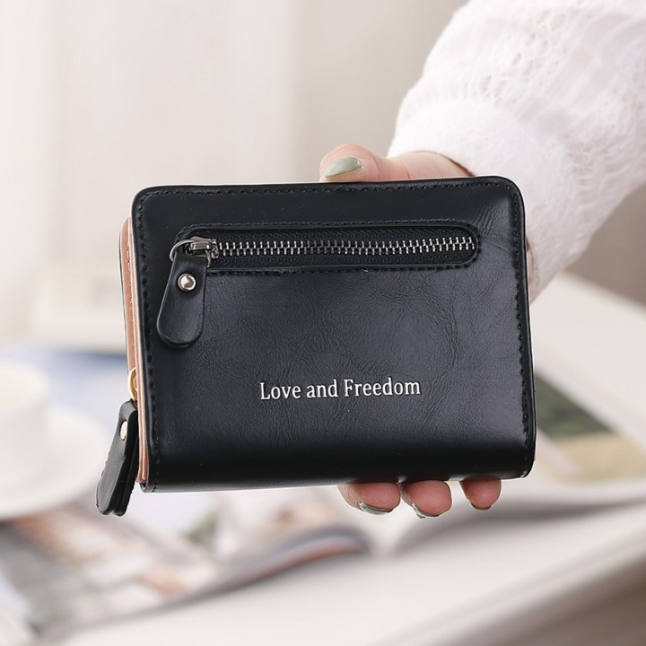 Ms Short Section wallet 2 Fold Student PU Wallet Fashion Hand Bag black one size