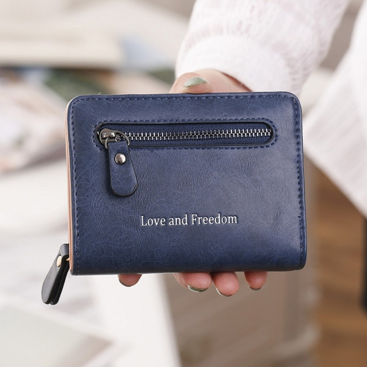 Ms Short Section wallet 2 Fold Student PU Wallet Fashion Hand Bag blue one size