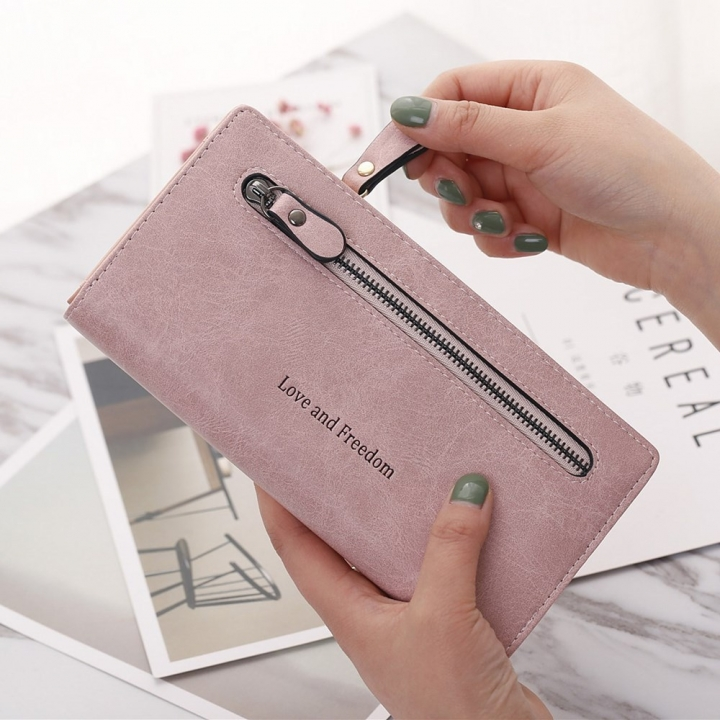 The New Wallet Female Long Section Zipper Soft Bread Buckle 2 Fold Ms Wallet Hand Bag pink one size