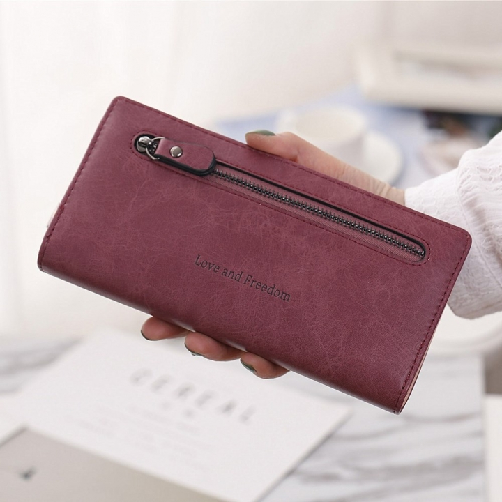 The New Wallet Female Long Section Zipper Soft Bread Buckle 2 Fold Ms Wallet Hand Bag red wine one size