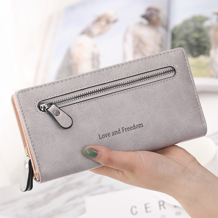 The New Wallet Female Long Section Zipper Soft Bread Buckle 2 Fold Ms Wallet Hand Bag gray one size